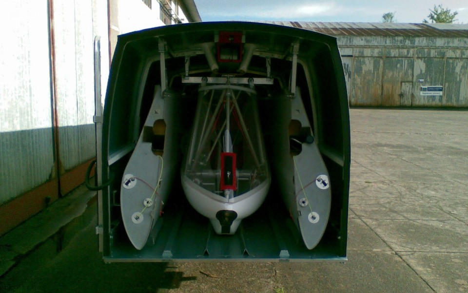 Aft view of a Swiftlight Cobra trailer