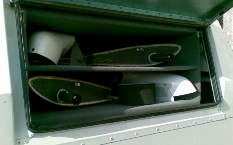 Front storage compartment of a Swiftlight Cobra trailer